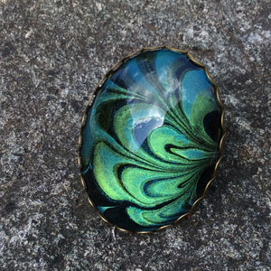 Ring, Oval, Green & Metallic Blue Flower Petals-Jewelry-Fullamoon Designs