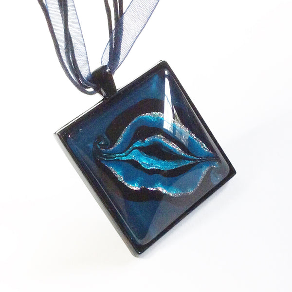 Yoni Pendant Necklace, Square Blues