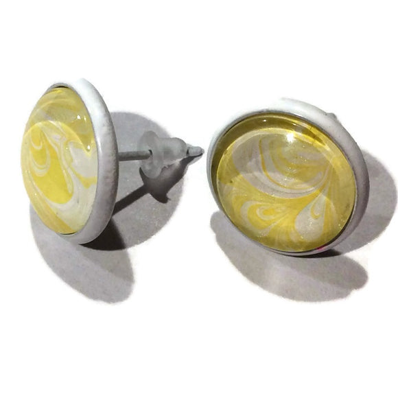 water marble earrings yellow and white