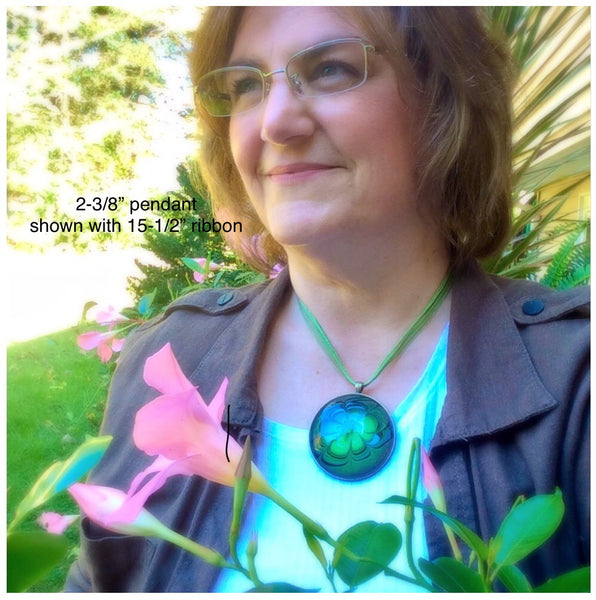Mega Necklace, Olive Green & Copper Floral