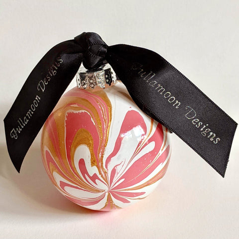 Marbled Glass Ornament, Delicate Pink Flower