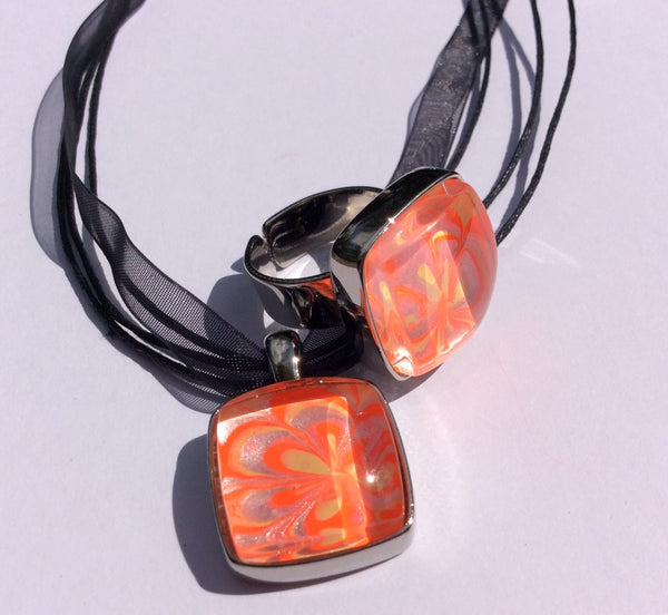 Pendant Necklace and Ring Set, Floral Creamsicle Neon Pop-Jewelry-Fullamoon Designs
