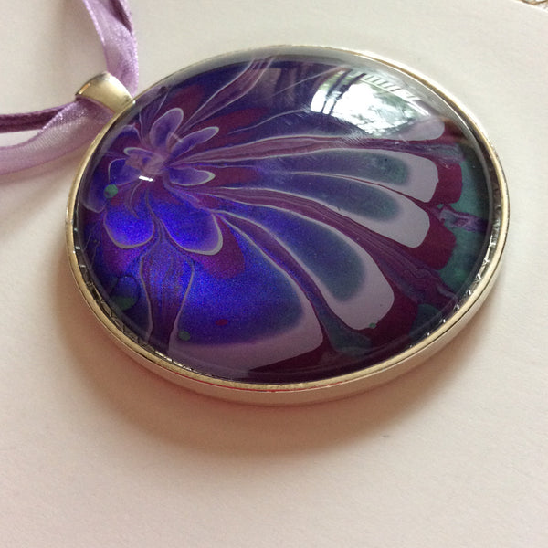 Large Round Pendant Necklace, Purple and Blue Floral-Jewelry-Fullamoon Designs