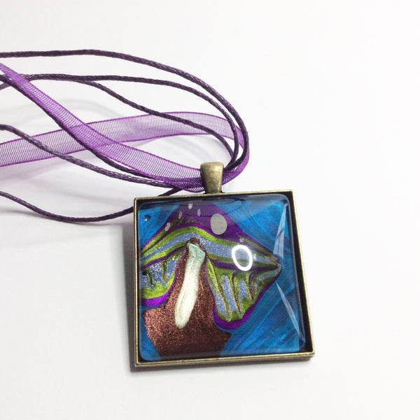 Square Pendant Necklace, Green & Purple Mushroom