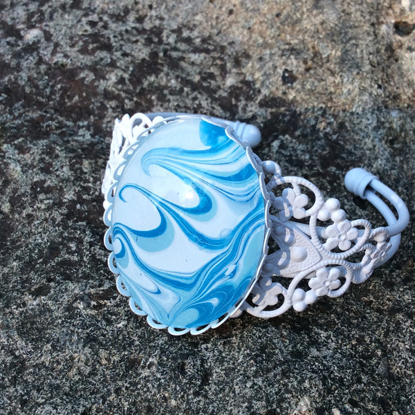 Bracelet, Ocean Waves of Blue and White-Jewelry-Fullamoon Designs
