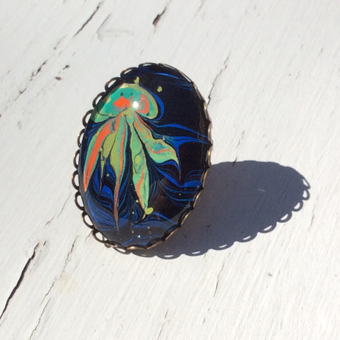 Ring, Ocean Theme, Colorful Jellyfish-Jewelry-Fullamoon Designs