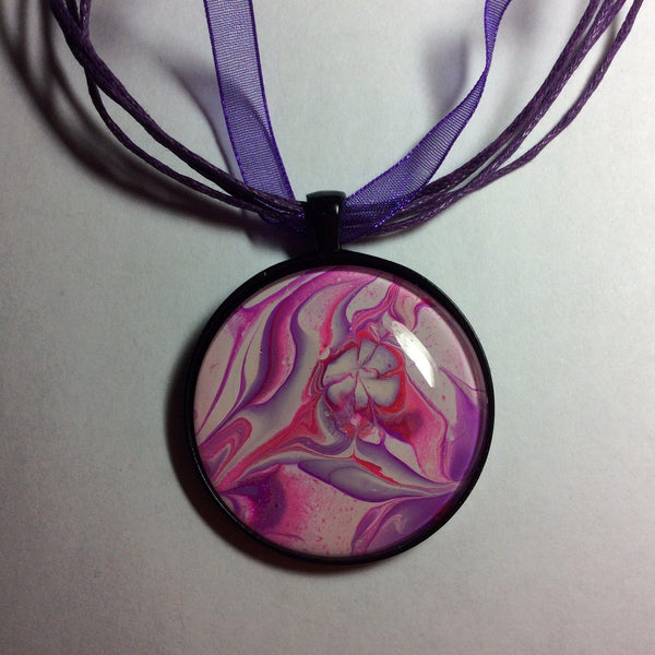 Round Pendant Necklace, Pink, Purple and White-Jewelry-Fullamoon Designs