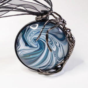 Round Pendant Necklace, Mermaid on Swirly Wave-Jewelry-Fullamoon Designs