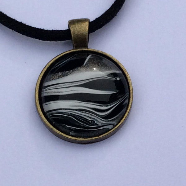 zebra pattern pendant necklace