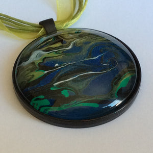 galaxy pendant green and blue