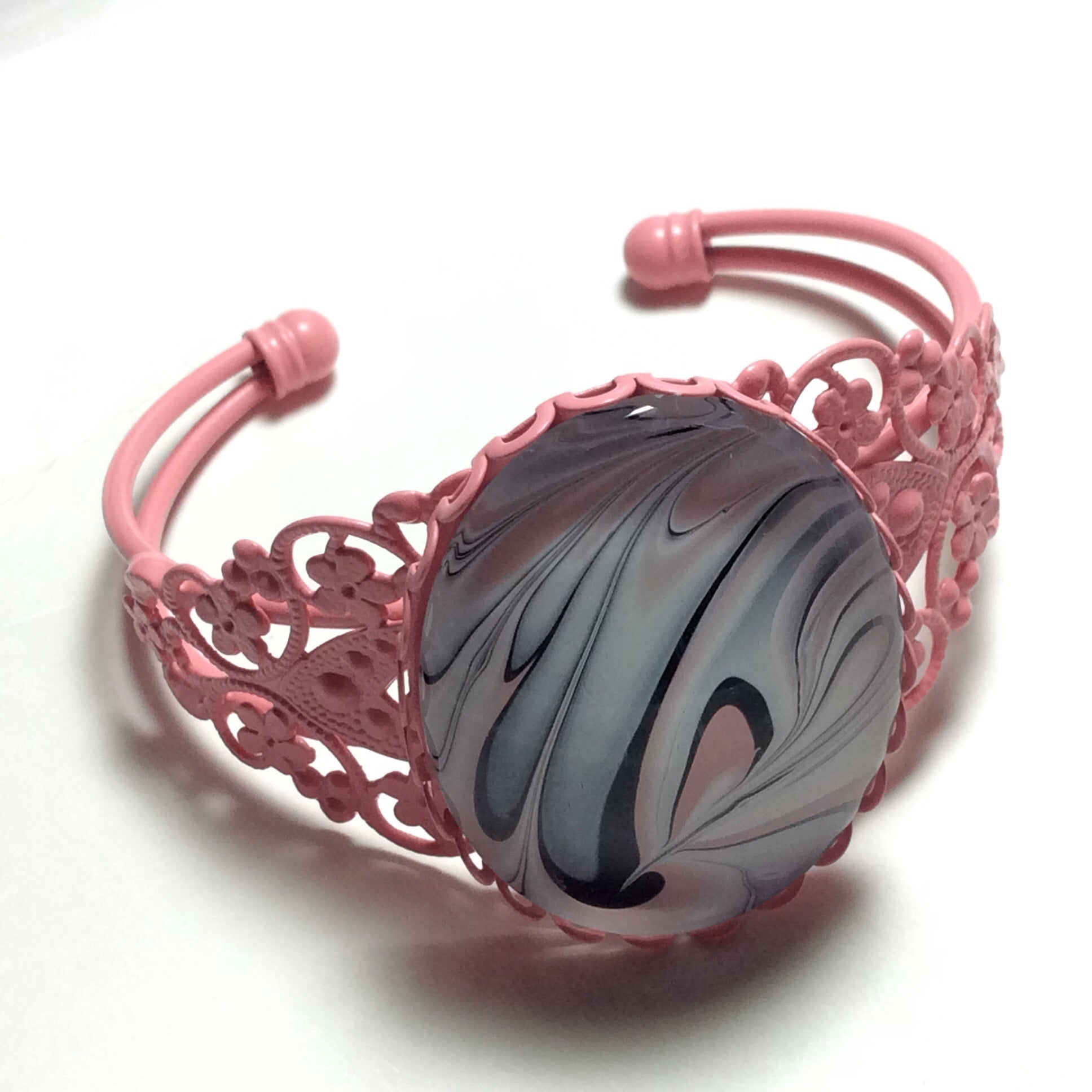 Bracelet, Swirls of Pink, White and Black