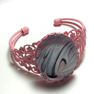 Bracelet, Swirls of Pink, White and Black-Jewelry-Fullamoon Designs