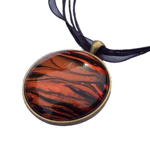"Necklace, Tiger Stripe Safari Pendant, 1-5/8"" Round-Jewelry-Fullamoon Designs"