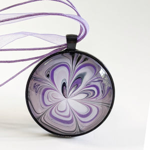 Round Pendant Necklace, Shades of Purple and White-Jewelry-Fullamoon Designs
