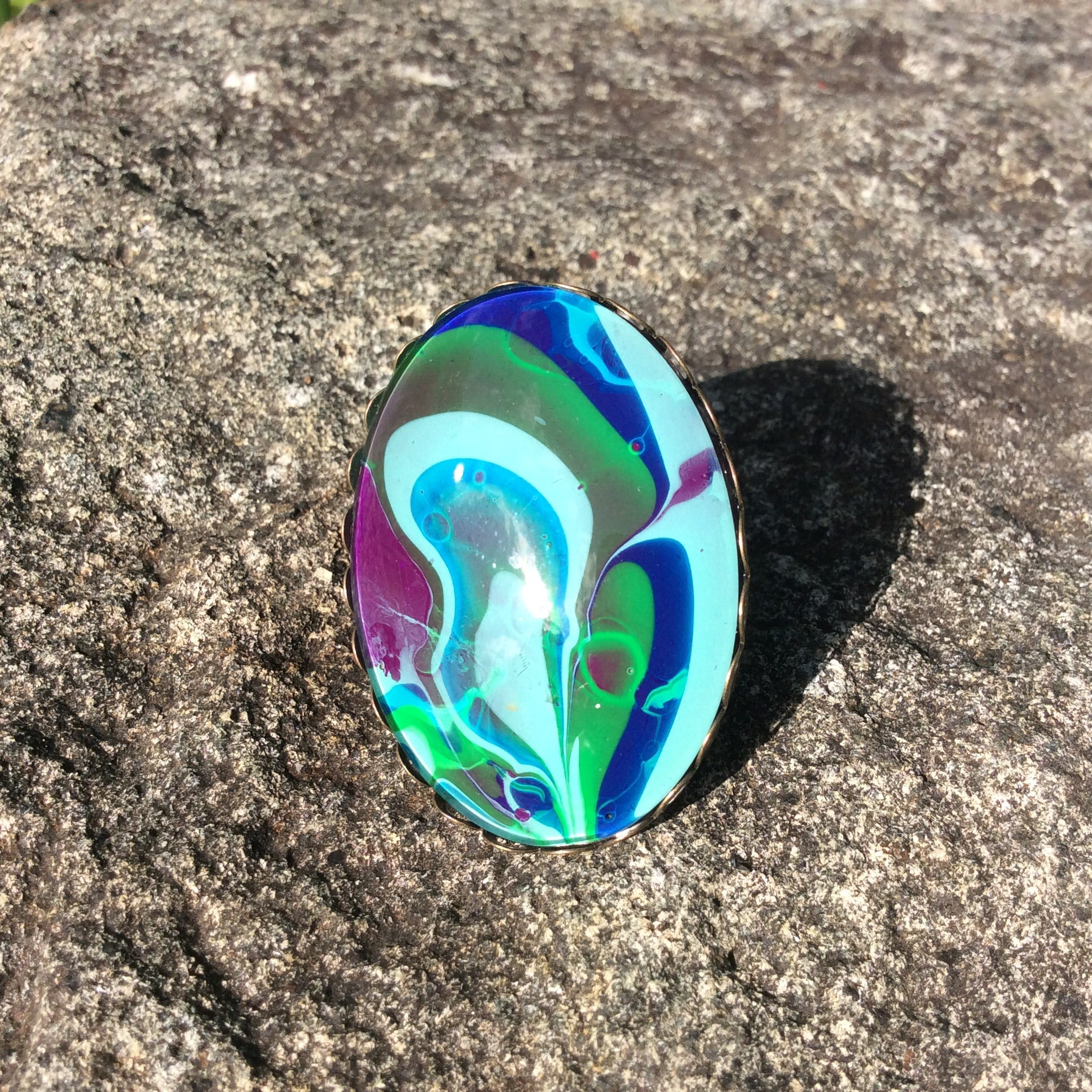 Ring, Oval, Abstract Green, Blue & Aqua