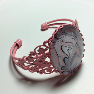 Bracelet, Swirls of Pink, Black and White