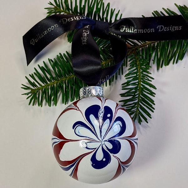 Marbled Glass Ornament, Patriotic Flower