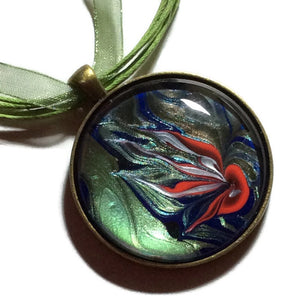 Round Pendant Necklace,Green Blue and Orange Jellyfish-Jewelry-Fullamoon Designs