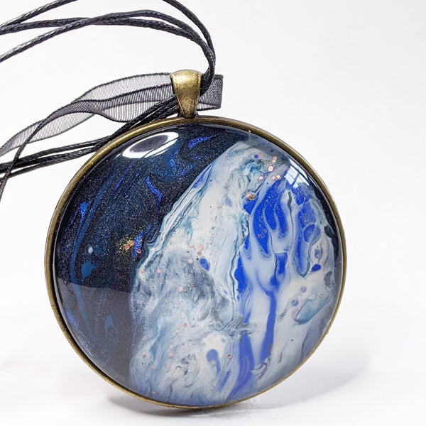 Mega Necklace, Blue Galaxy Moon-Jewelry-Fullamoon Designs
