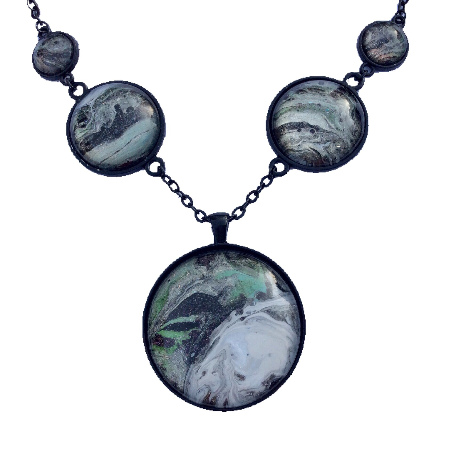 Five Pendant Necklace, White, Green and Black Galaxy Design-Jewelry-Fullamoon Designs