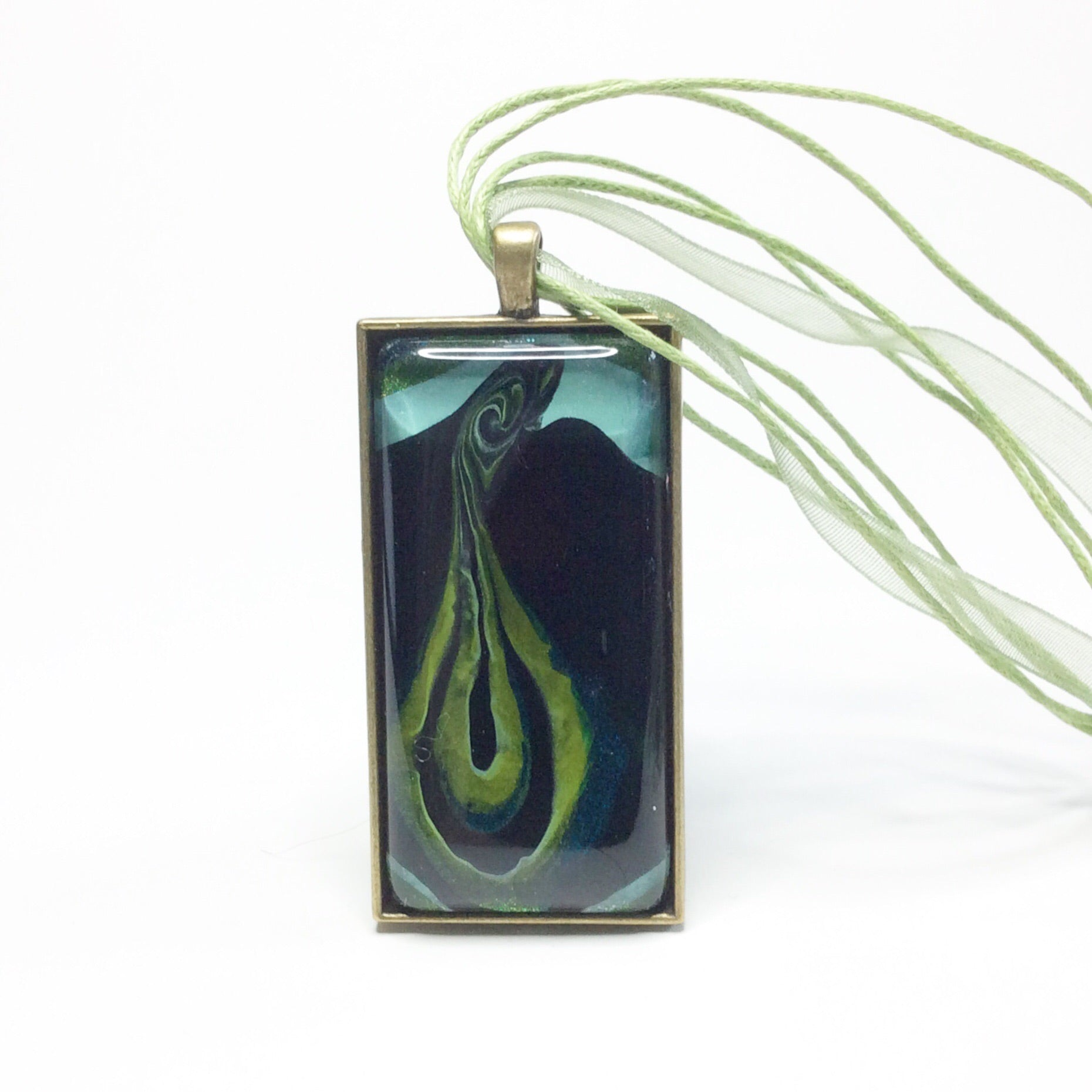 Feminist Vagina Pendant Necklace, Gorgeous Greens
