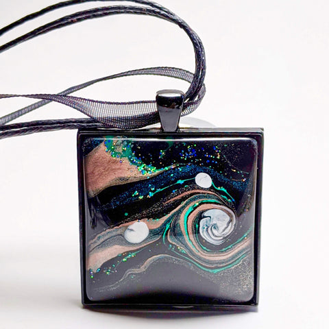 Square Pendant Necklace, Galaxy Design