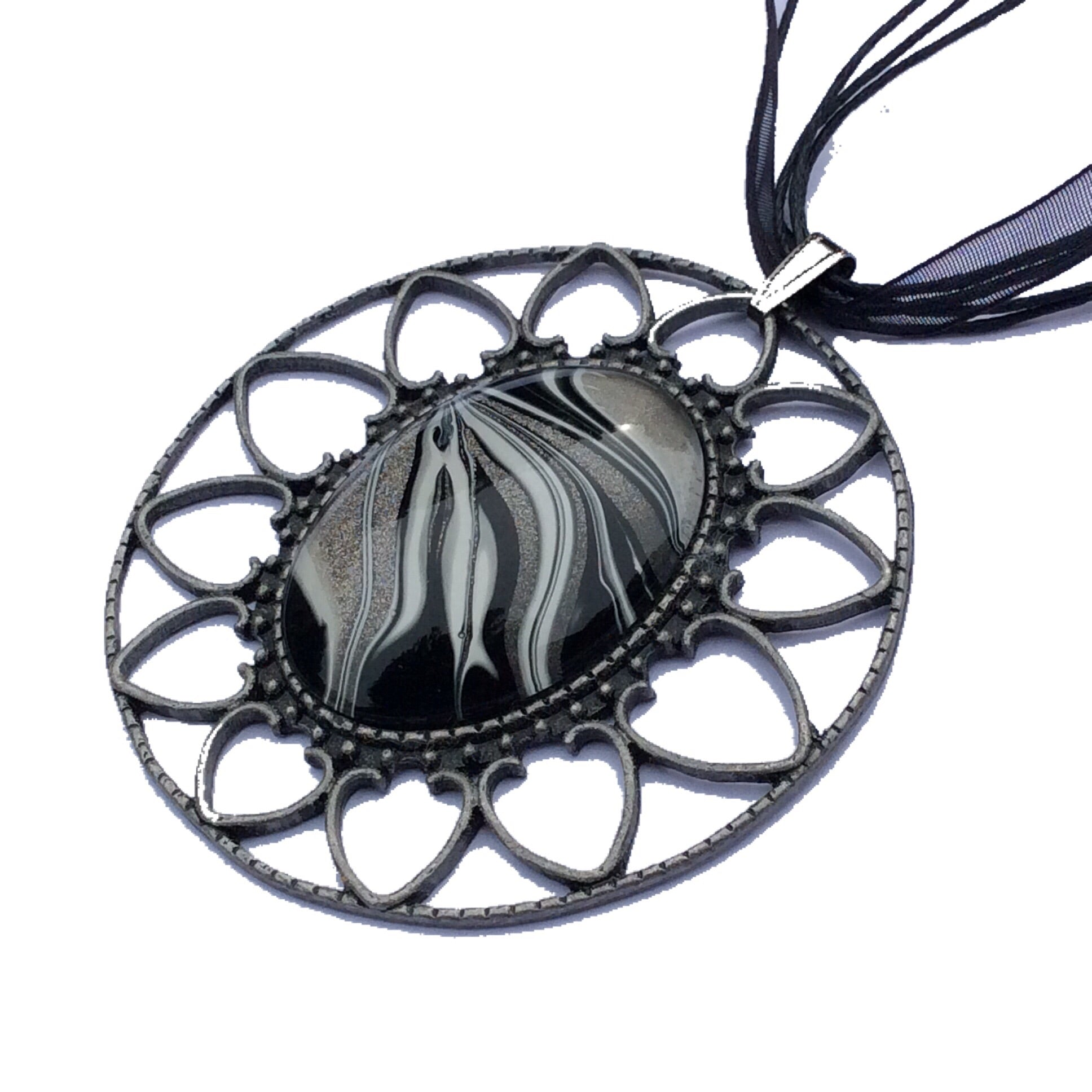 Necklace, Large Black Zebra Stripe Safari Pendant-Jewelry-Fullamoon Designs
