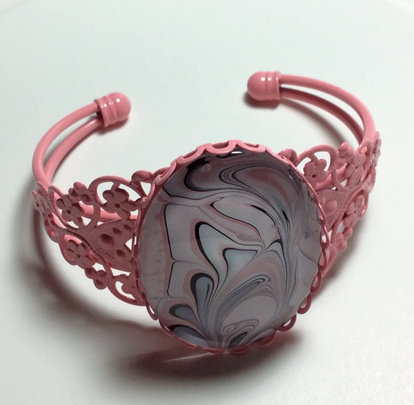 Bracelet, Swirls of Pink, Black and White-Jewelry-Fullamoon Designs