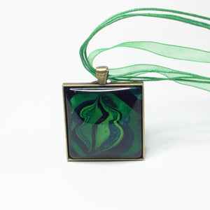 Yoni Pendant Necklace, Green Square