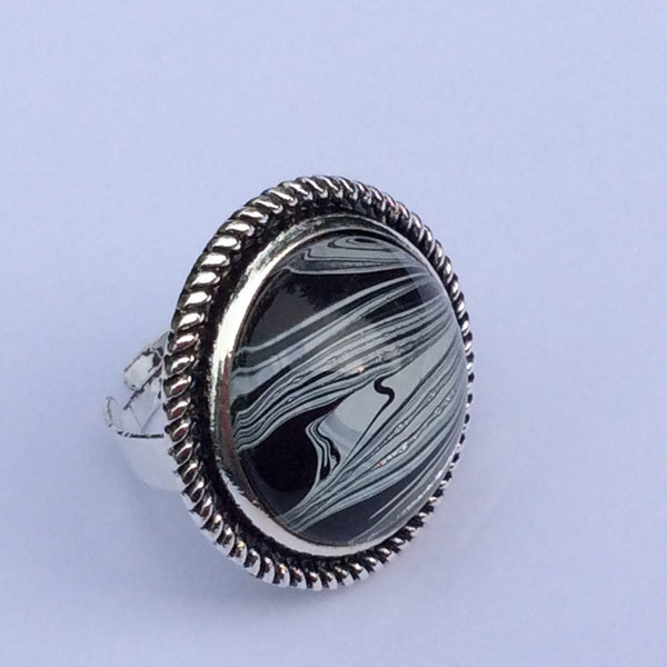 Ring, Zebra Inspired, Safari Style, Black White and Silver-Jewelry-Fullamoon Designs
