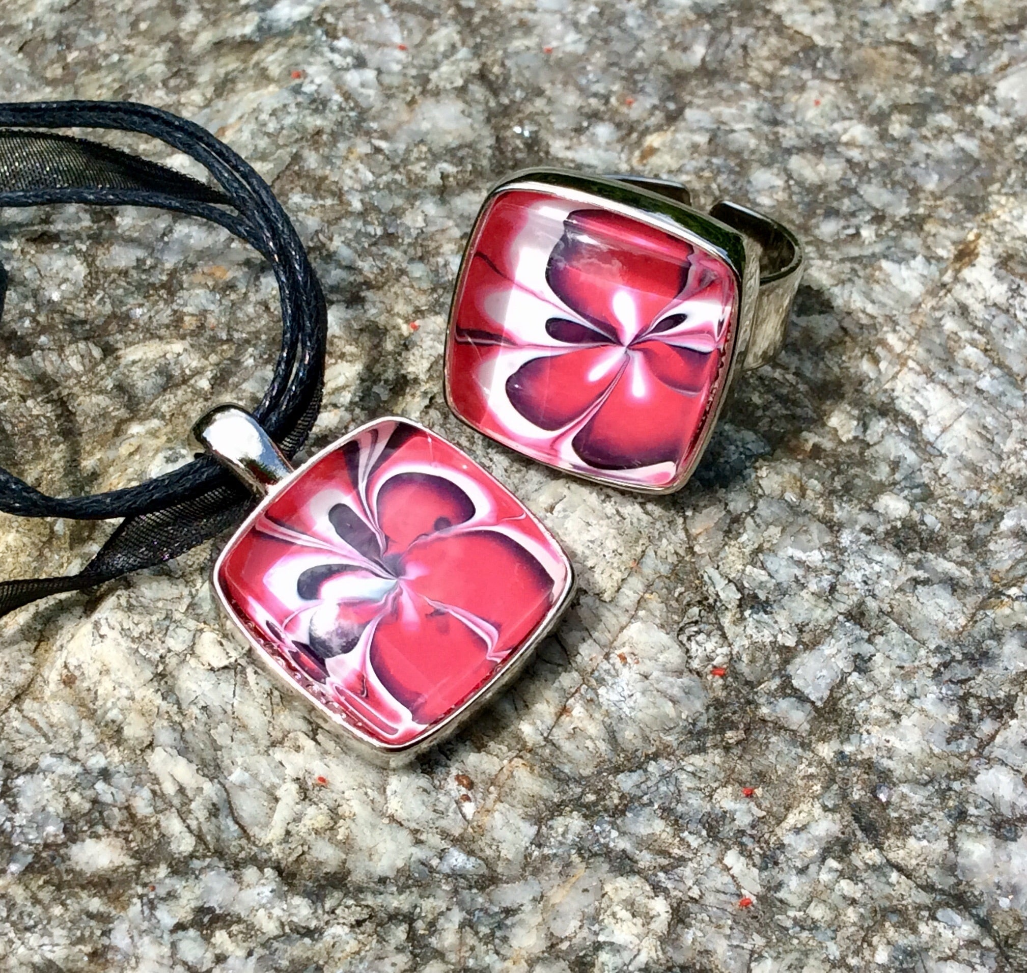 Pendant Necklace and Ring Set, Pink Raspberry Floral