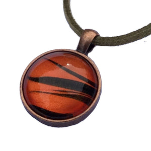 Necklace, Tiger Safari Pendant, Orange, Copper & Black-Jewelry-Fullamoon Designs
