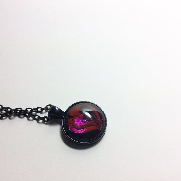 Round Pendant Necklace, Tiny Hot Heart-Jewelry-Fullamoon Designs