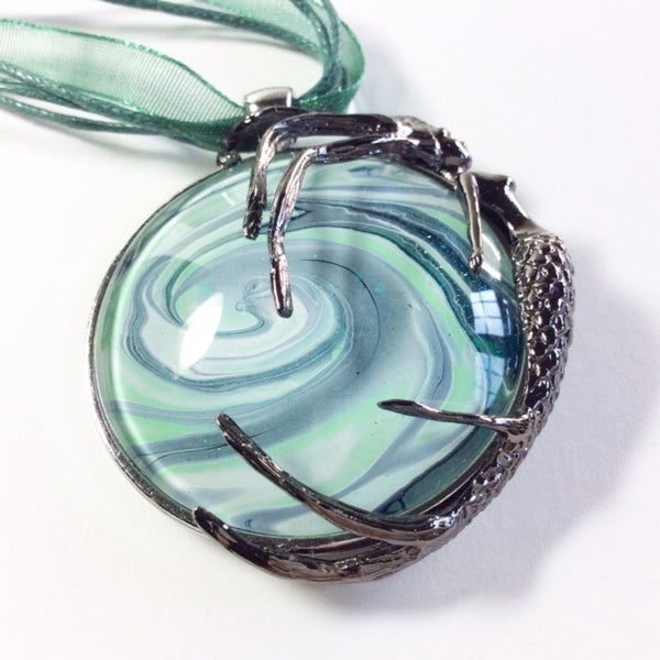 Mermaid Pendant Necklace, Riding Green Wave-Jewelry-Fullamoon Designs