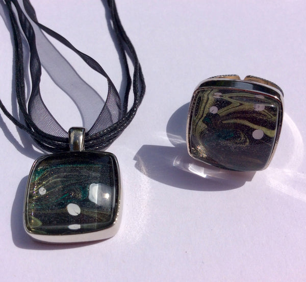 Pendant Necklace and Ring Set, Painted Galaxy with Moons-Jewelry-Fullamoon Designs