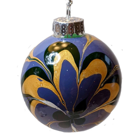Marbled Glass Ornament, Wild Flower-Fullamoon Designs