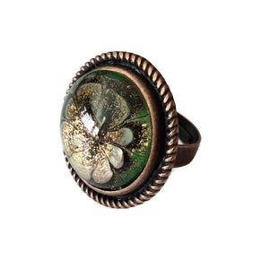 green and copper ring