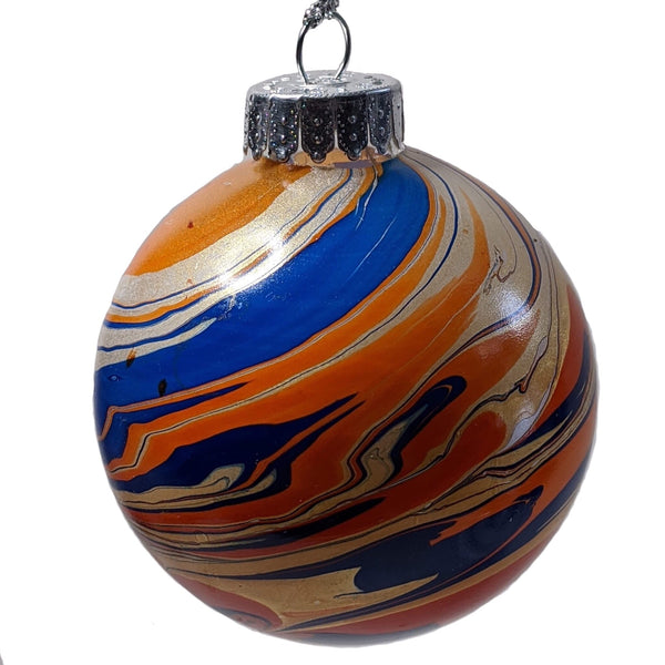 Marbled Glass Ornament, Cosmic Orange Galaxy