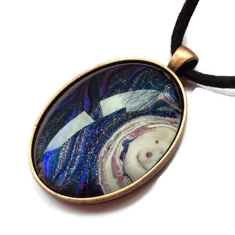 Oval Pendant Necklace,Purple Galaxy Design-Jewelry-Fullamoon Designs