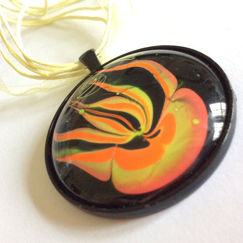 Round Pendant Necklace, Whimsical Jellyfish