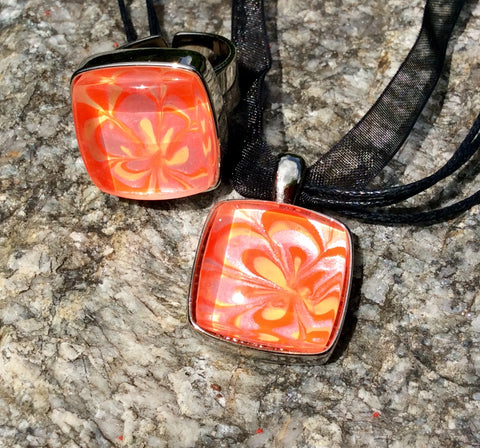 Pendant Necklace and Ring Set, Floral Creamsicle Neon Pop