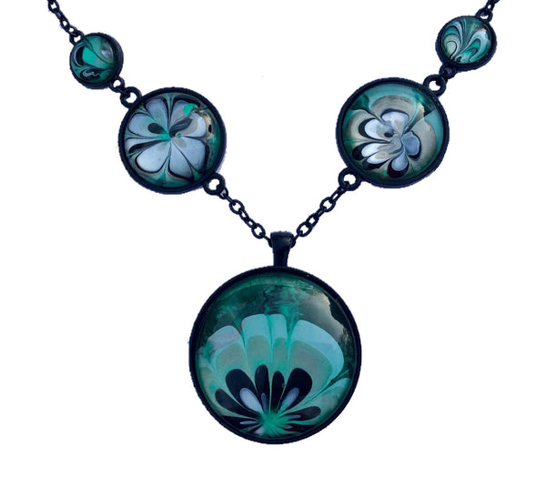 Five Pendant Necklace, Black, Green and Aqua Floral-Jewelry-Fullamoon Designs