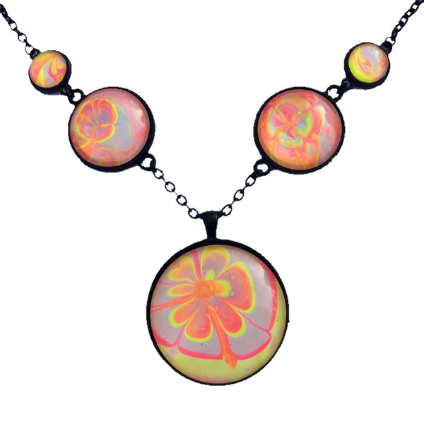 Five Pendant Necklace,Orange ,Yellow and Pink Neon Floral-Jewelry-Fullamoon Designs