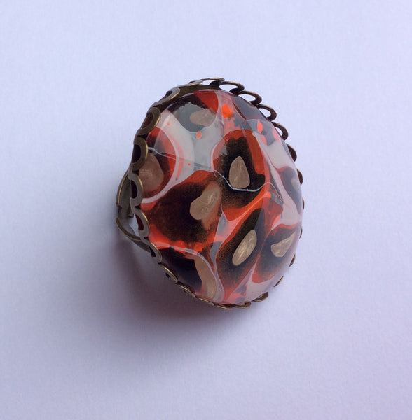 Ring, Leopard Print Statement Ring, Safari Style-Jewelry-Fullamoon Designs