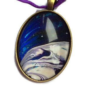Oval Pendant Necklace, Blue Galaxy Design-Jewelry-Fullamoon Designs