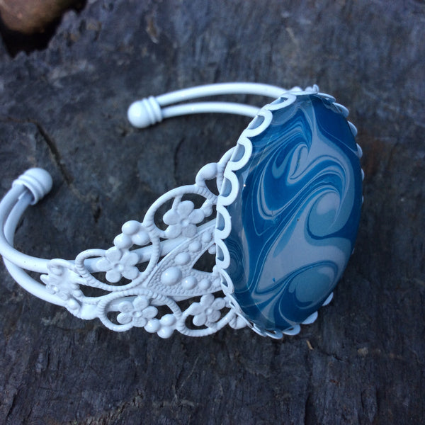 Bracelet, Blue and White, Ocean Waves-Jewelry-Fullamoon Designs