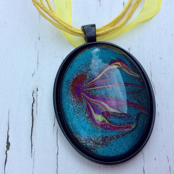 Oval Pendant Necklace, Yellow and Magenta Jellyfish