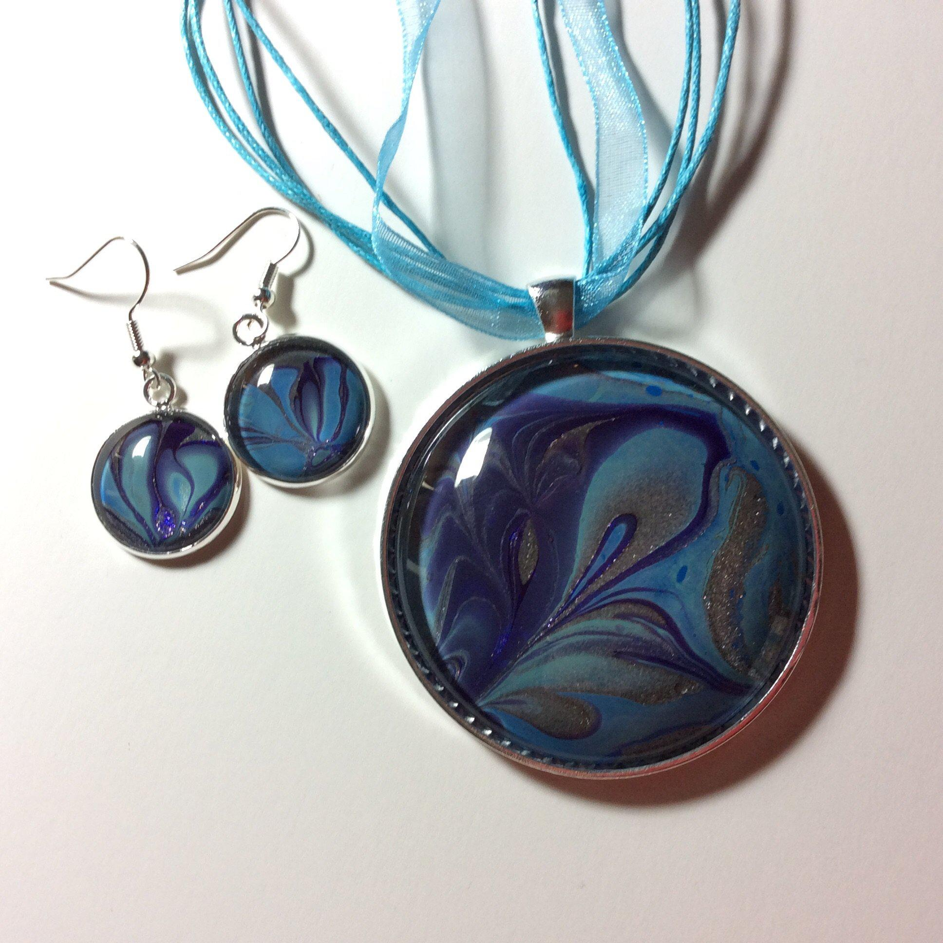 Pendant Necklace and Earring Set, Purple & Blue