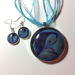 Pendant Necklace and Earring Set, Purple & Blue-Jewelry-Fullamoon Designs