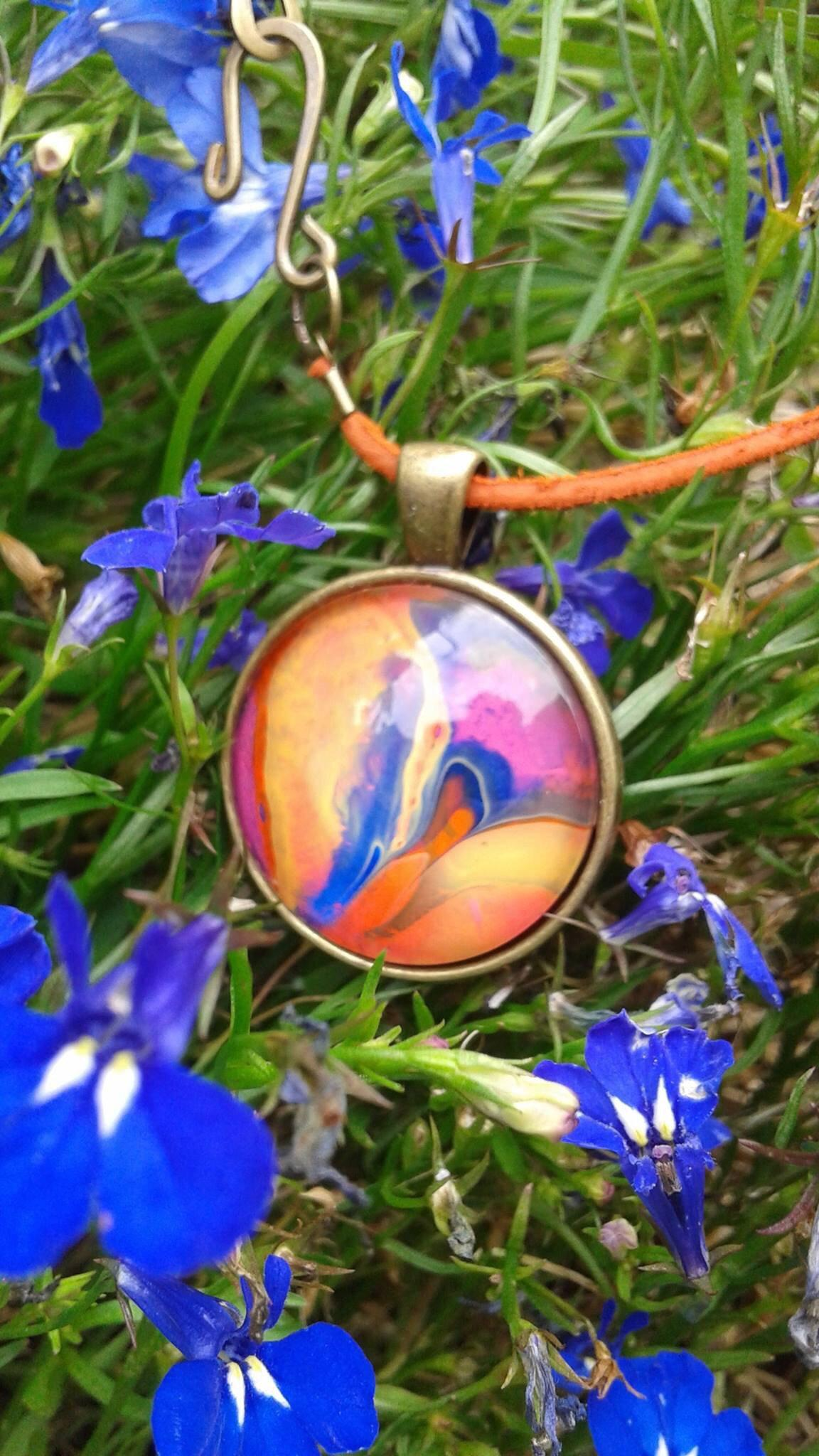 Round Pendant Necklace, Blue and Orange-Jewelry-Fullamoon Designs
